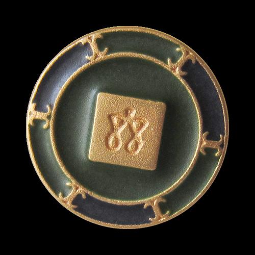 www.Knopfparadies.de - 4022gr - Imposante goldene Metallknöpfe mit Viereck, Symbolen und grünen & blauen Flächen