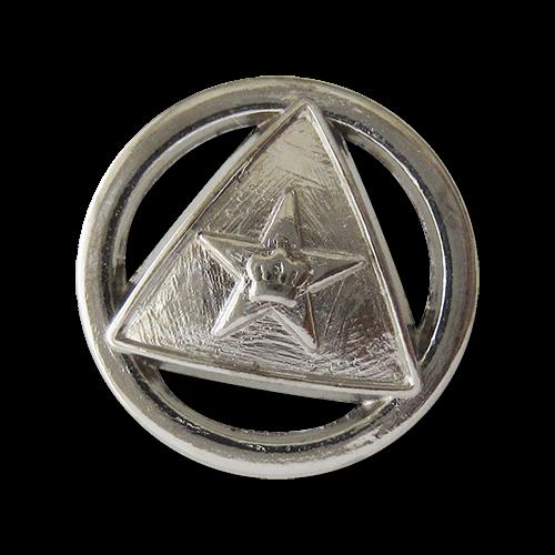www.Knopfparadies.de - 1587si - Silberne Metallknöpfe mit Dreieck, Stern & Krone