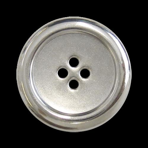 www.Knopfparadies.de - 5300si - Einfache Vierlochknöpfe aus Metall in Silber