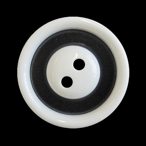 www.knopfparadies.de - 2056ws - Schwarz weiße Kunststoffknöpfe mit zwei Löchern