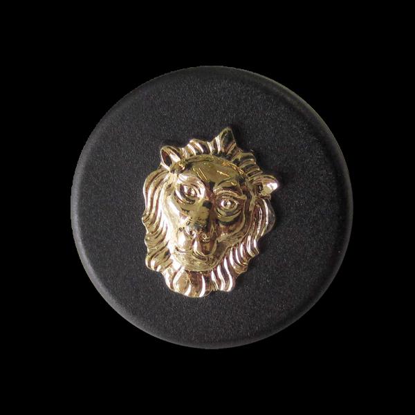 Eleganter schwarzer Ösen Knopf mit goldfb. Löwen Kopf