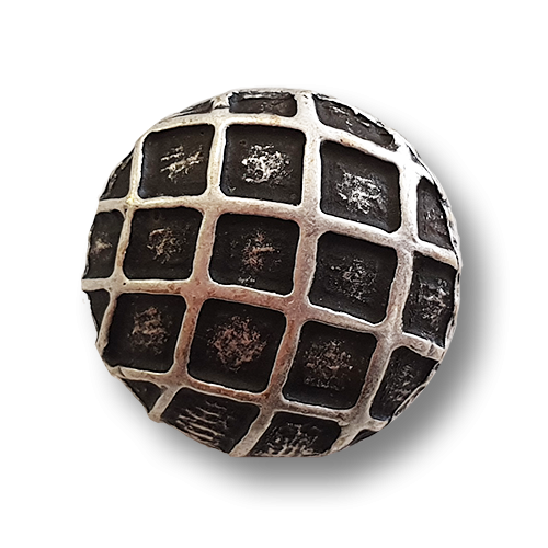 www.knopfparadies.de - k409 - Leicht gewölbte altsilberfarbene Metallknöpfe mit netzartiger Oberfläche