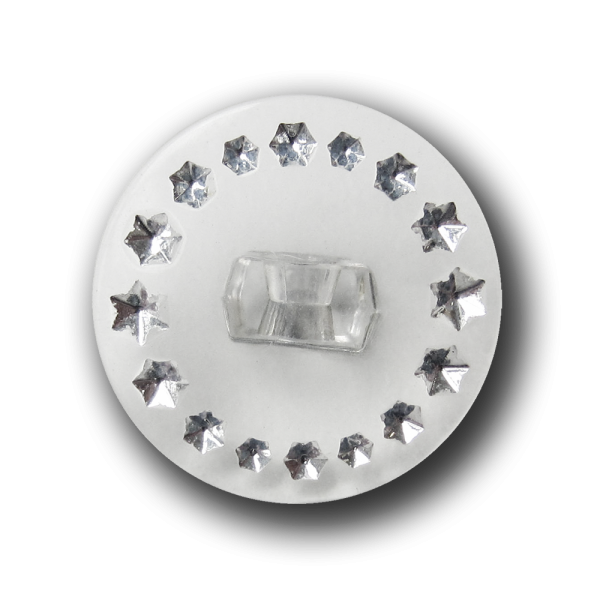Transparenter Knopf mit silberfarbenen Glitzer Sternen