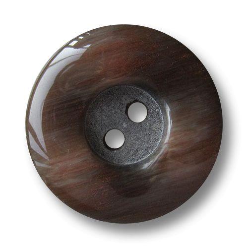 Braun schillernde Kunststoff Knöpfe mit gewelltem Rand