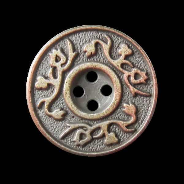 Silber-bis kupferfb. Metallknopf mit Rankenmuster