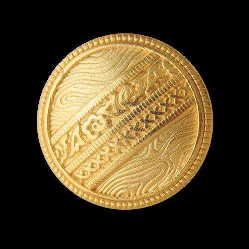 Goldfarbener Metallknopf mit phantasievoller Musterung