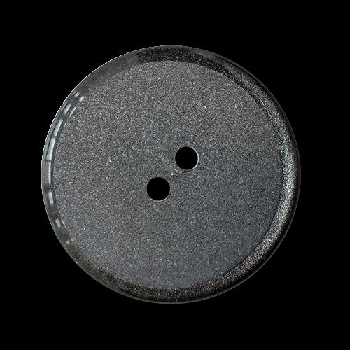 www.knopfparadies.de - 3197gr - Grau schimmernde Zweilochknöpfe aus Kunststoff