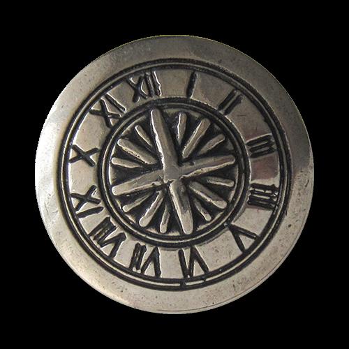 www.Knopfparadies.de - 1614as - Silberne Metallknöpfe mit Uhren Motiv