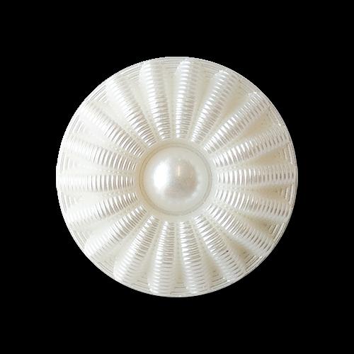 www.knopfparadies.de - 6042we - Weiß schimmernde Kunststoffknöpfe
