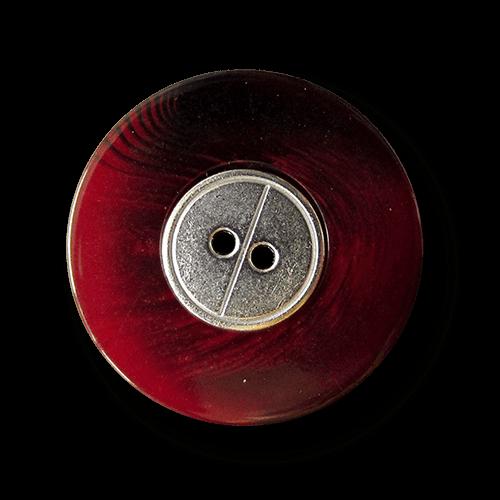 Rot melierter Zweiloch Knopf mit Metall Applikation