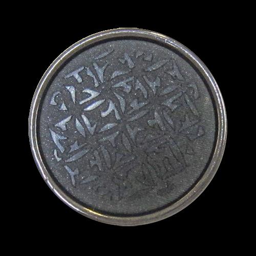 www.Knopfparadies.de - 0512dg - Edle gemusterte Metallknöpfe in Silber & Dunkelgrau