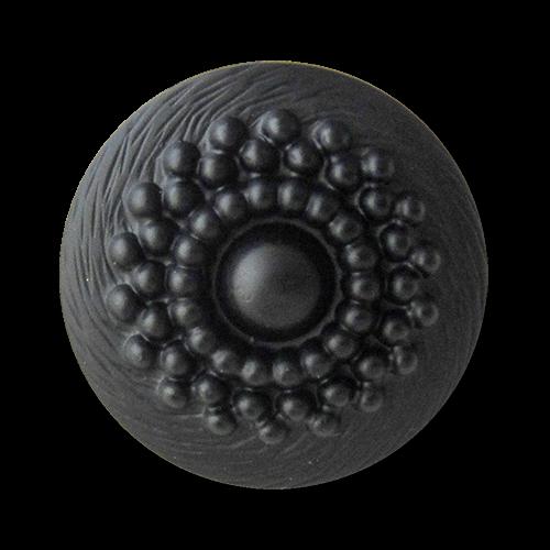 www.Knopfparadies.de - 5308sc - Nostalgische Ösenknöpfe aus Kunststoff in Schwarz