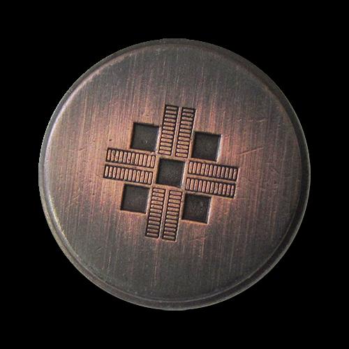 www.Knopfparadies.de - 3075ku - Gebürstete Metallknöpfe mit Kreuz in Bicolor mit kleinen Mängeln