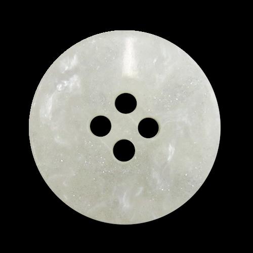 www.Knopfparadies.de - 3396we - Glitzernde Vierlochknöpfe aus Kunststoff in Weiß mit Perlmutteffekt