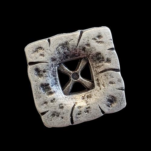 www.knopfparadies.de - 5580as - Altsilberfarbene, viereckige Trachtenknöpfe aus Metall