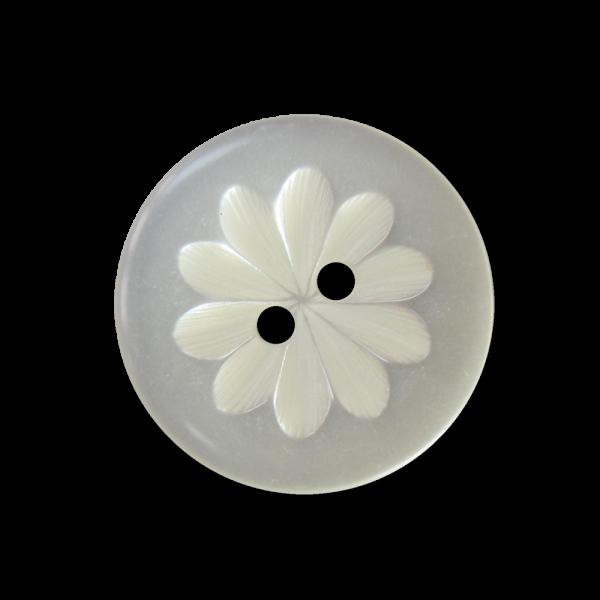 Perlmutt weißer Zweiloch Knopf mit Blumen Relief