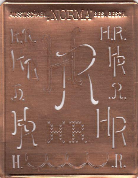 www.knopfparadies.de - HR-sch-NORMA - Aussteuerschablone, Wäsche-Schablone NORMA Kupfer Monogramm HR