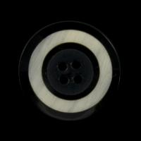 Kleiner schwarzer Knopf mit grau-naturfarbener Einlage