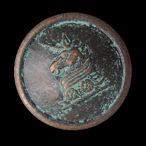www.Knopfparadies.de - 5431kg - Alt wirkende Metallknöpfe mit Einhorn Motiv in Altkupfer mit künstlicher Patina