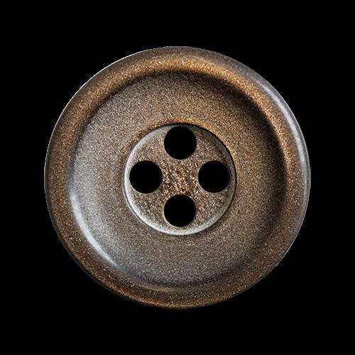 www.knopfparadies.de - 2260gb - Braun schimmernde Kunststoffknöpfe mit vier Löchern