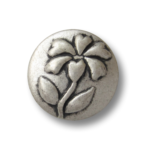 Edler matt silberfarbener Blumen Knopf aus Metall