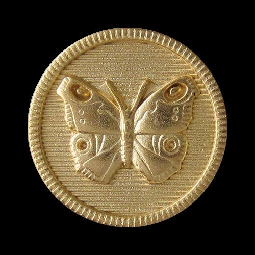 www.Knopfparadies.de - 0233mg - Süße goldene Metallknöpfe mit Schmetterling