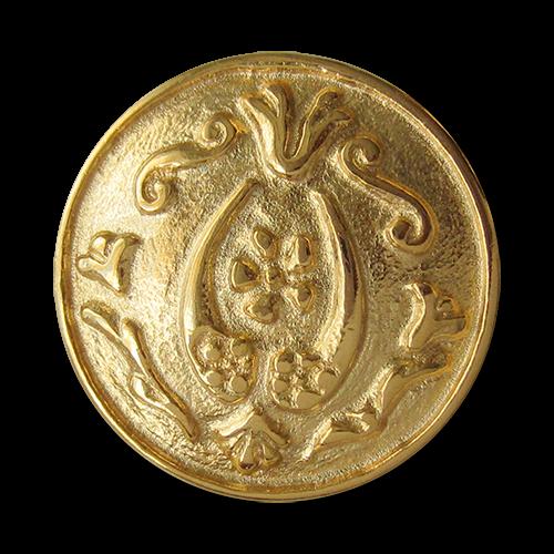 www.knopfparadies.de - 0421gg - Hübsche glänzend goldfarbene Metallknöpfe für Landhausmode