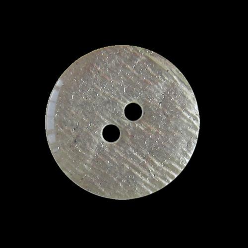 Silberfarbener Zweiloch Kunststoff Knopf in Blattsilber Optik