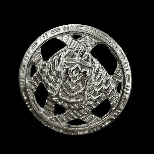 Silberfb. Designer Wappen Knöpfe mit Durchbruch Muster