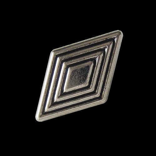 www.Knopfparadies.de - 1616as - Rautenförmige Metallknöpfe in Altsilber