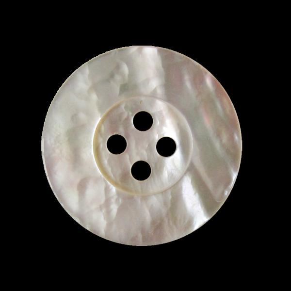 Edler Perlmutt Knopf in Weiß mit breitem Rand und vier Löchern