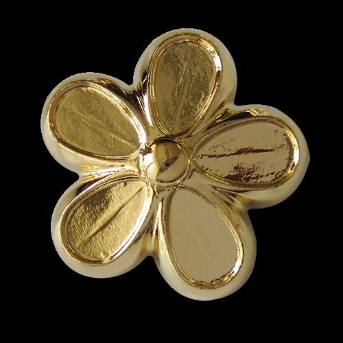 www.Knopfparadies.de - 5879gg - Große goldene Blumen Knöpfe aus Kunststoff