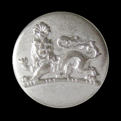 www.Knopfparadies.de - 0940si - silberne Metallknöpfe mit imposantem Löwen in Vintage Optik