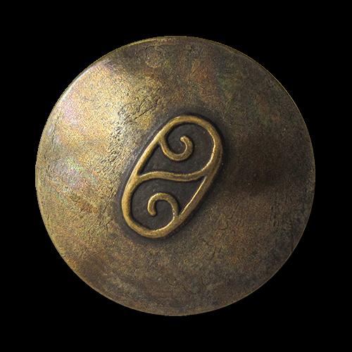 www.Knopfparadies.de - 0790am - Älter wirkende altmessingfarbene Metallknöpfe mit Doppel Spirale