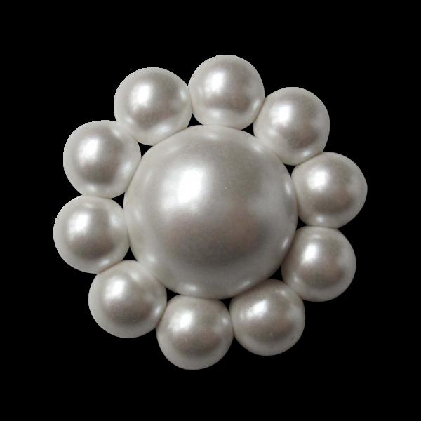 Extravaganter Knopf in edler weißer Perlen Optik