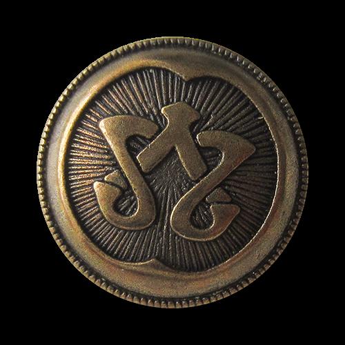 www.Knopfparadies.de - 4166am - Extravagante messingfarbene Metallknöpfe mit Enblem