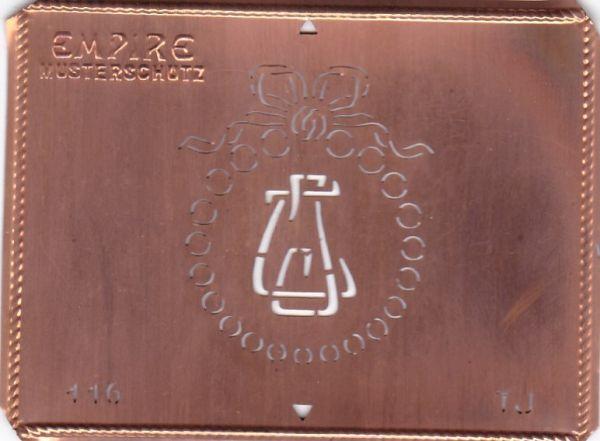 Stilvolle Jugendstil Kupfer Schablone mit Kranz und Schleife - Rarität - TJ
