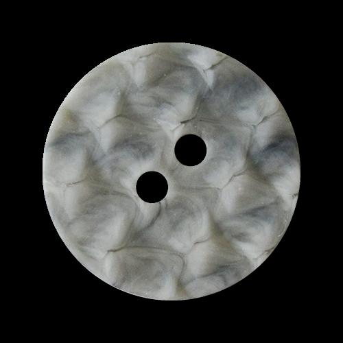 www.Knopfparadies.de - 1540gr - Ausgefallene hellgrau marmorierte Zweiloch Kunststoffknöpfe
