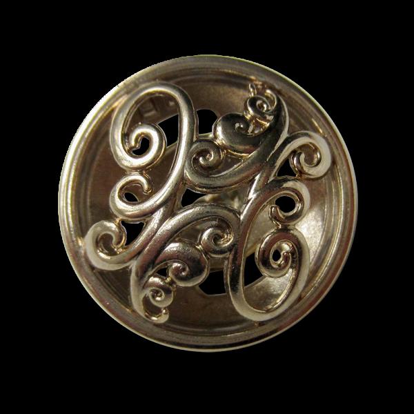Sensationeller hellgoldfb. Metall Knopf mit Durchbruch