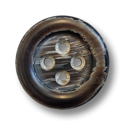 www.knopfparadies.de - 6017db - Dunkelbraune Vierlochknöpfe aus Kunststoff in Hornoptik