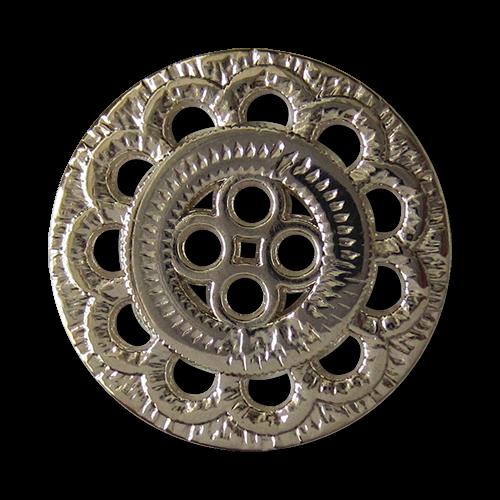 www.Knopfparadies.de - 5843ch - Hübsche Metallknöpfe mit Blumen Muster Durchbruch