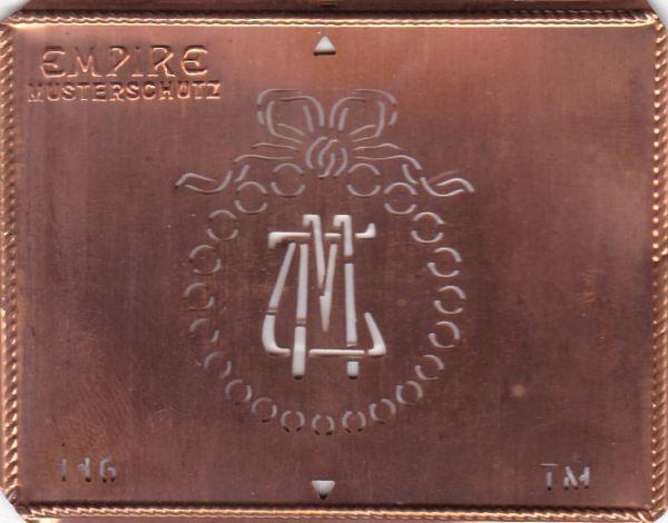 Stilvolle Jugendstil Kupfer Schablone mit Kranz und Schleife - Rarität - TM