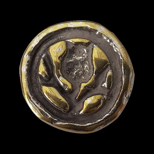 Metallknopf mit Blume in glänzend Silber- und Messingfarben