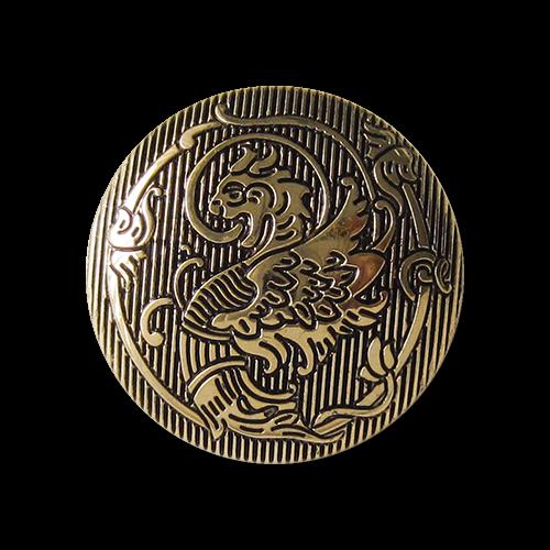 Bildschöne glänzend goldfarbene Motiv-Knöpfe aus Kunststoff mit Fabelmotiv Drachen