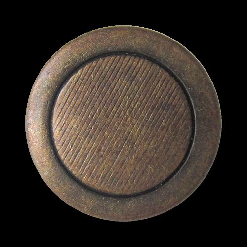 www.Knopfparadies.de - 0435am - Schlichte schraffierte Metallknöpfe in Altmessing mit breitem Rand