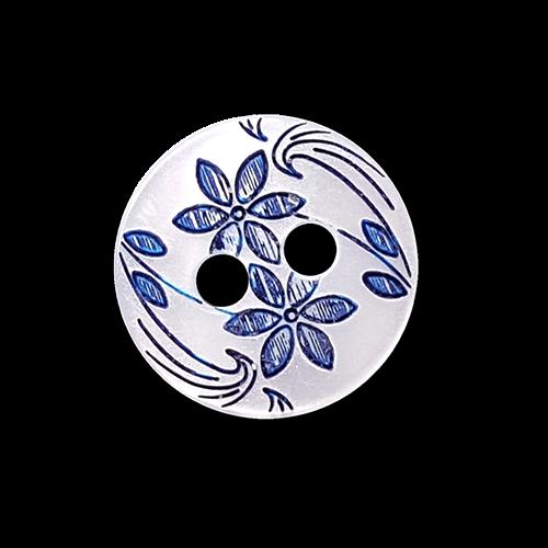Kleiner perlmutt weißer Knopf mit blauem Blumen Muster