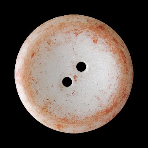 www.Knopfparadies.de - 4418or - Kreative perlmuttweiße Kunststoffknöpfe mit metallic orangefarbener Melierung