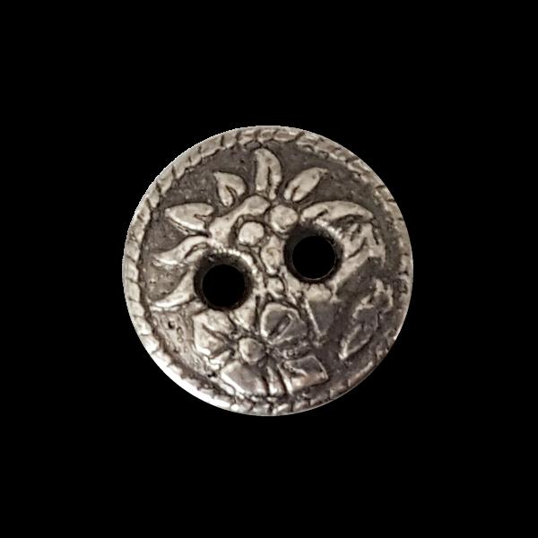 Kleiner altsilberfb. Zweiloch Metall Knopf mit Edelweiß und Blume