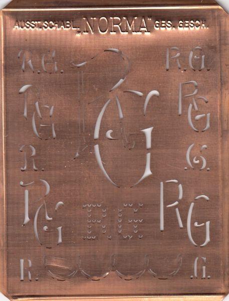 www.knopfparadies.de - RG-sch-NORMA - Aussteuerschablone, Wäsche-Schablone NORMA Kupfer Monogramm RG