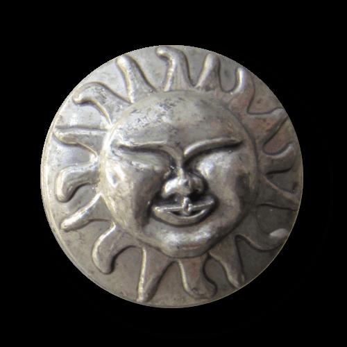 Altsilberfarbener Kunststoff Knopf mit Sonne